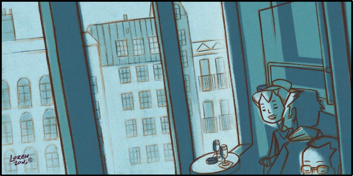 """Illustration """"Pénombre bleu dans un bistrot"""". Katia Lorenzon"""