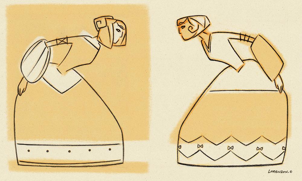 Le Petit Duc croquis des silhouettes pour la vitrine. Design: Katia Lorenzon